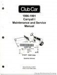 Official 1986-1991 Club Car Carryall I Gas Maintenance And Service Manual