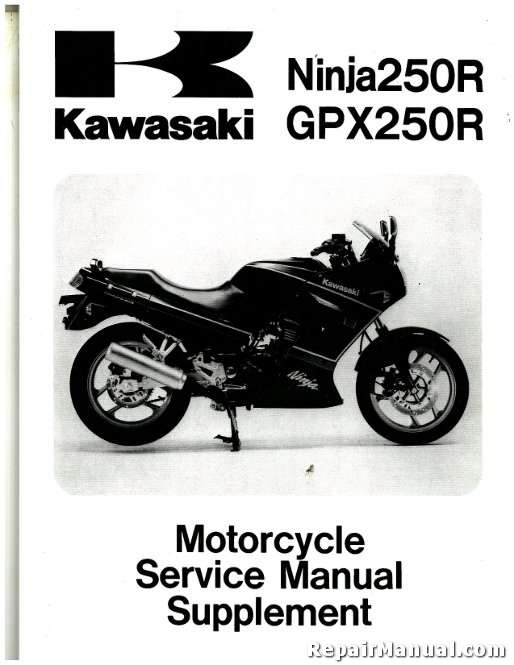 1988 2007 kawasaki ex250 ninja motorcycle service manual supplement rh repairmanual com Kawasaki Ninja 650 New Kawasaki Ninja 250