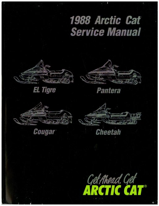 Official 1988 Arctic Cat El Tigre Pantera Cougar Cheetah Snowmobile Factory Service Manual