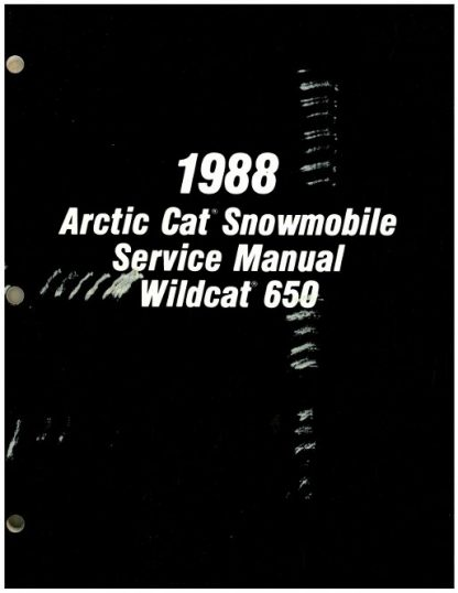 Official 1988 Arctic Cat Wildcat 650 Snowmobile Factory Service Manual