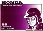 Official 1988 Honda CH250 Elite 250 Scooter Factory Owners Manual