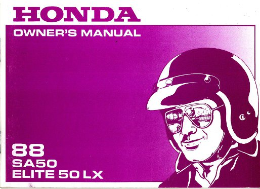 1988 Honda Sa50 Elite 50 Lx Scooter Owners Manual