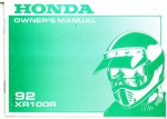 Official 1992 Honda XR100R Factory Owners Manual