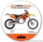 Official 1993-1995 KTM 350 400 600 612 620 LC4 Repair Manual CD-ROM