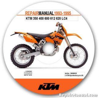 Official 1993-1995 KTM 350 400 600 612 620 LC4 Repair Manual CD-ROM