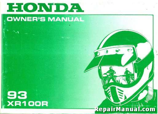 1993 honda xr100r motorcycle owners manual rh repairmanual com 2003 honda xr100r owners manual 2002 honda xr100r owners manual