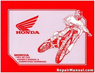 Official 1994 Honda CR125R Motorcycle Competiton Handbook Owners manual