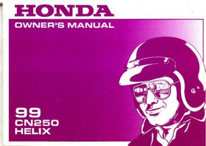 Official 1999 Honda CN250 Helix Motorcycle Factory Owners Manual
