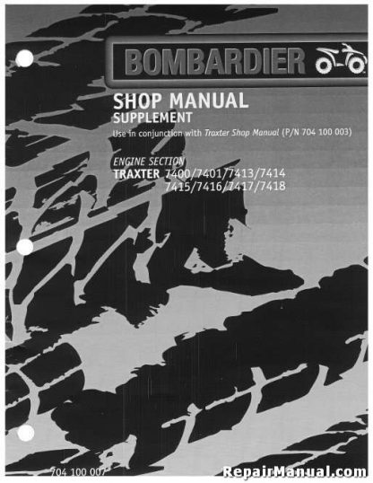 Official 2000 Bombardier Traxter + XT Factory Service Manual Supplement