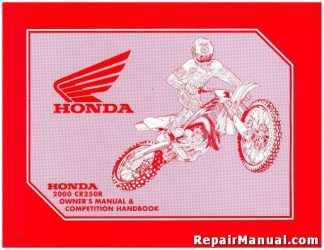 Official 2000 Honda CR250R Motorcycle Owners Manual and Competition Handbook