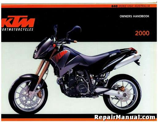 2000 ktm 640 duke motorcycle owners handbook. Black Bedroom Furniture Sets. Home Design Ideas