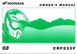 Official 2003 Honda CRF230F Motorcycle Owners Manual