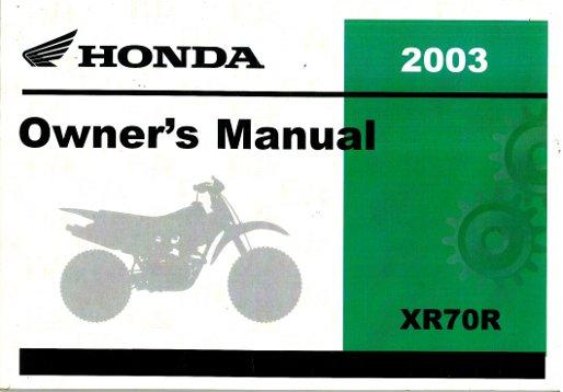 2003 honda xr70r motorcycle owners manual