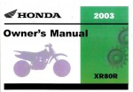 Official 2003 Honda XR80R Factory Owners Manual