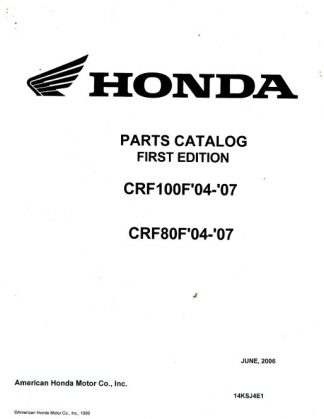 Official 2004-2007 Honda CRF80F and 100F Parts Manual