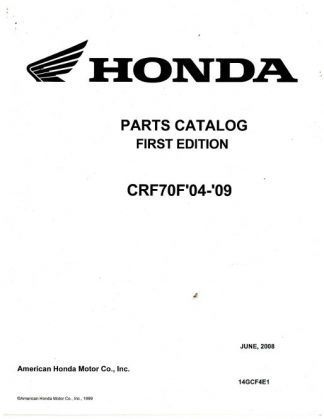 Official 2004-2009 Honda CRF70F Factory Parts Manual