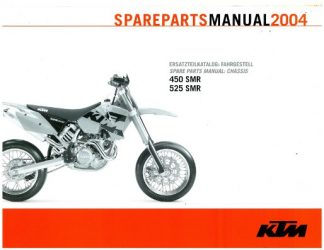 Official 2004 KTM 450 525 SMR Chassis Spare Parts Manual