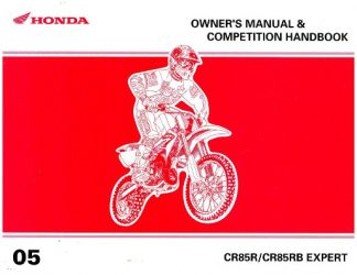 Official 2005 Honda CR85R RB Expert Owners Manual And Competition Handbook