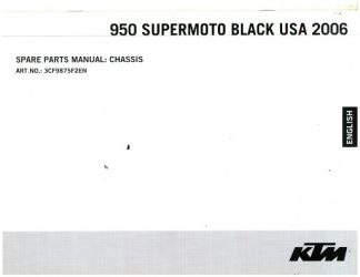 Official 2007 KTM 950 Supermoto Black Chassis Spare Parts Manual