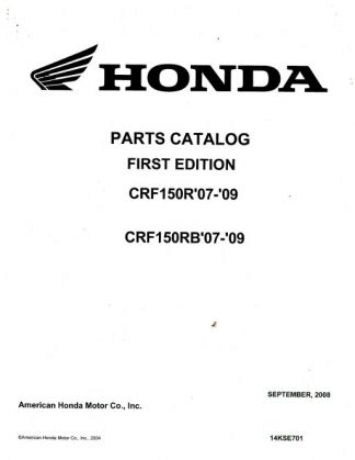 Official 2007-2009 Honda CRF150R RB Factory Parts Manual