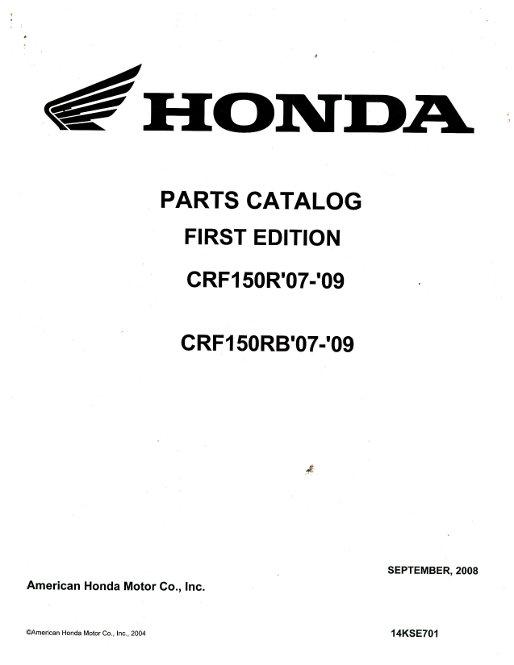 Official 2007-2009 Honda CRF150R RB Factory Parts Manual