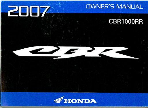 2007 honda cbr1000rr motorcycle owners manual. Black Bedroom Furniture Sets. Home Design Ideas