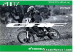Official 2007 Honda CRF100F Factory Owners Manual