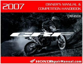 Official 2007 Honda CRF450X Owners Manual