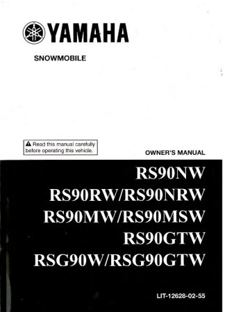 Official 2007 Nytro Yamaha RS90NW and 2007 Vector ER RS90RW Snowmobile Owners Manual