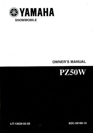 Official 2007 Phazer Yamaha PZ50W Snowmobile Owners Manual