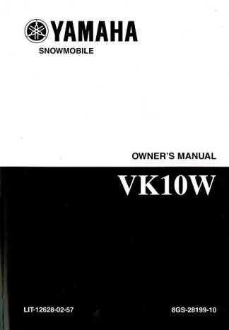 Official 2007 VK Professional Yamaha VK10W Snowmobile Owners Manual