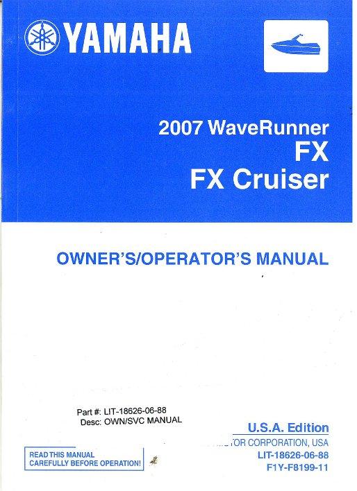 2007 yamaha fx1000af owners manual rh repairmanual com Yamaha GPR Waverunner Manual 2007 yamaha waverunner fx ho service manual