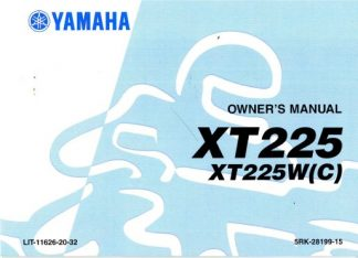 Official 2007 Yamaha XT225W and XT225WC Serow Motorcycle Factory Owners Manual