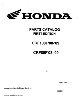 Official 2008-2009 Honda CRF100F 80F Factory Parts Manual