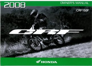 Official 2008 Honda CRF150F Motorcycle Factory Owners Manual