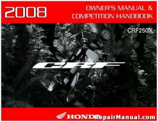 Official 2008 Honda CRF250X Motorcycle Factory Owners Manual