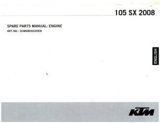 Official 2008 KTM 105 SX Engine Spare Parts Manual