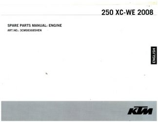 Official 2008 KTM 250 XC-WE Engine Spare Parts Manual