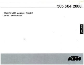 Official 2008 KTM 505 SX-F Engine Spare Parts Manual