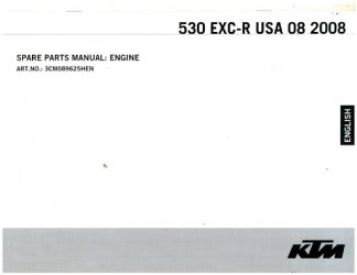 Official 2008 KTM 530 EXC-R USA Engine Spare Parts Manual