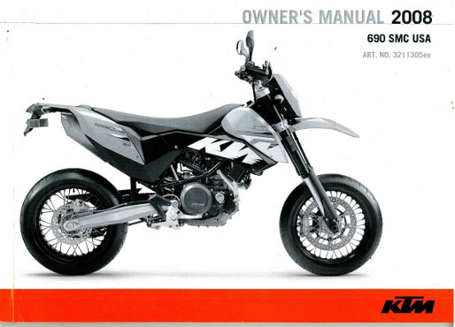 2008 Ktm 690 Smc Motorcycle Owners Manual