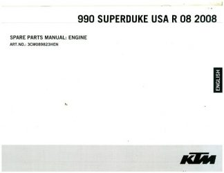 Official 2008 KTM 990 Superduke R USA Engine Spare Parts Manual