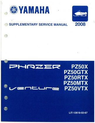Official 2008 Phazer Venture Lite Yamaha PZ50 Snowmobile Factory Supplementary Service Manual