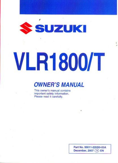 2009 Suzuki Boulevard C109R RT VLR1800 T Owners Manual
