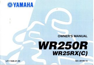 Official 2008 Yamaha WR250RXL Motorycle Owners Manual
