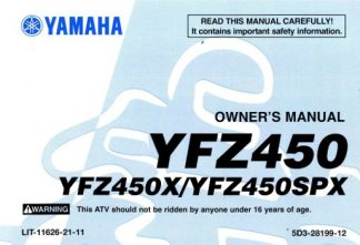 Official 2008 Yamaha YFZ450SPX ATV Owners Manual