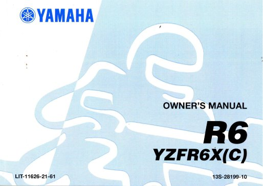 2008 yamaha yzfr600xy r6 motorcycle owners manual rh repairmanual com 2012 yamaha r6 owner's manual 2003 yamaha r6 owners manual
