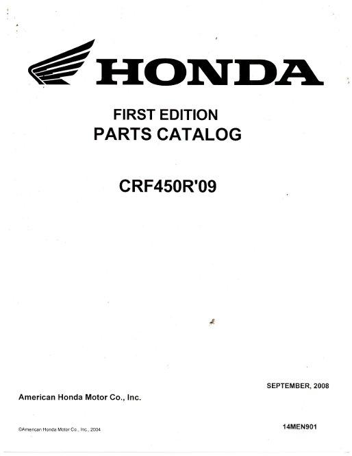 2009 Honda Crf450r Parts Manual
