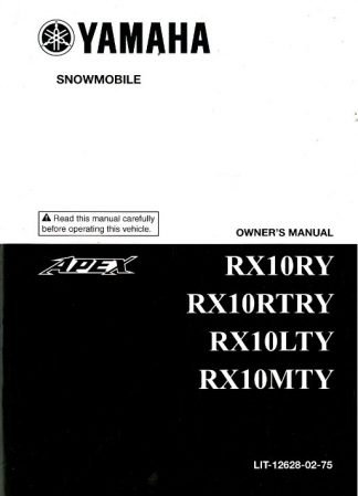 Official 2009 Yamaha RX10MTY RX10RTRY RX10RY Apex Snowmobile Owners Manual