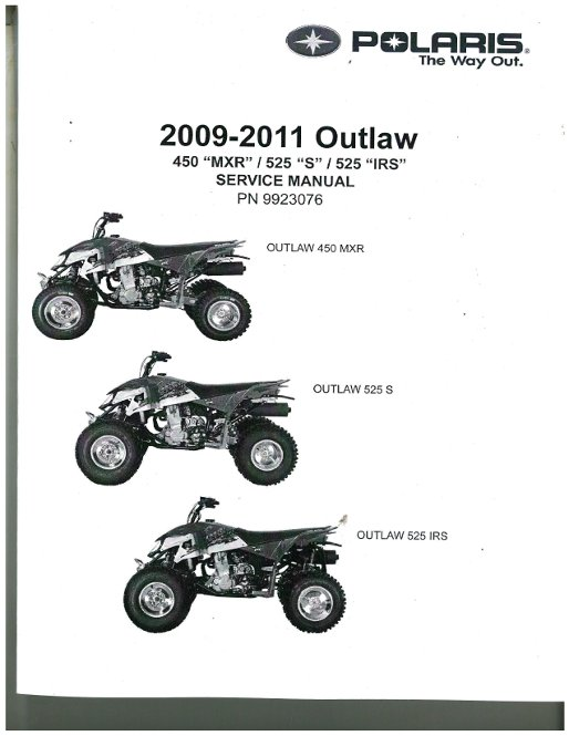 2011 polaris outlaw 450s 525s and 525 irs service manual rh repairmanual com polaris outlaw 500 service manual 2008 polaris outlaw 525 service manual